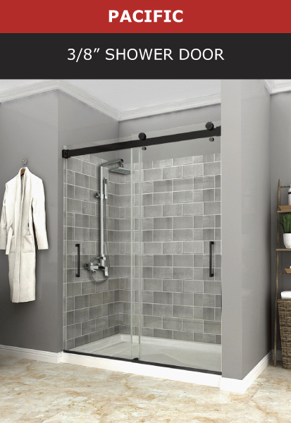 Pacific 3/8 Inch Shower Door Black Matte Finish Image