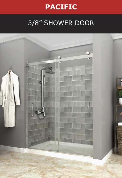 Pacific 3/8 Inch Shower Door Chrome Finish Image