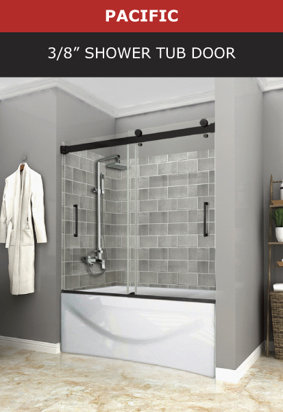 Pacific 3/8 Inch Shower Tub Door Black Matte Finish Image