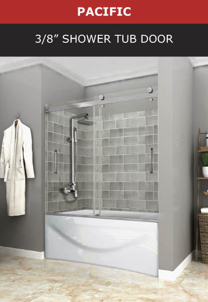 Pacific 3/8 Inch Shower Tub Door Brushed Nickel Finish Image