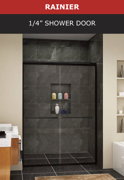Rainier 1/4 Inch Shower Door Black Matte Finish Image