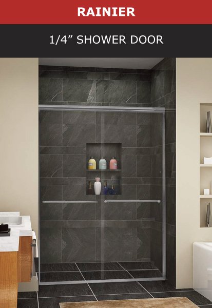 Rainier 1/4 Inch Shower Door Brushed Nickel Finish Image