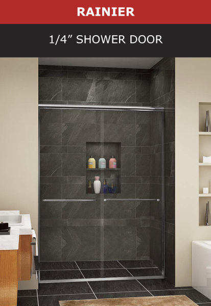 Rainier 1/4 Inch Shower Door Chrome Finish Image
