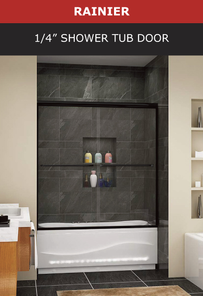 Rainer 1/4 Inch Shower Tub Door Black Matte Finish Image