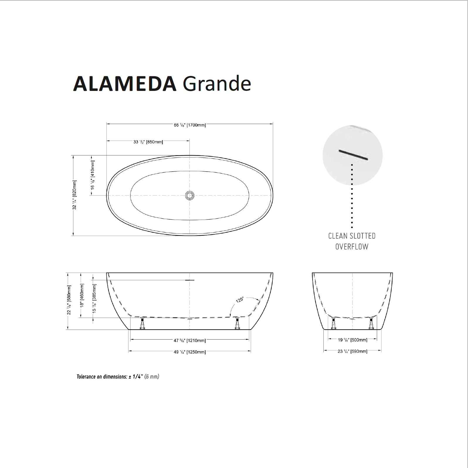 Alameda Grande Tub Specifications