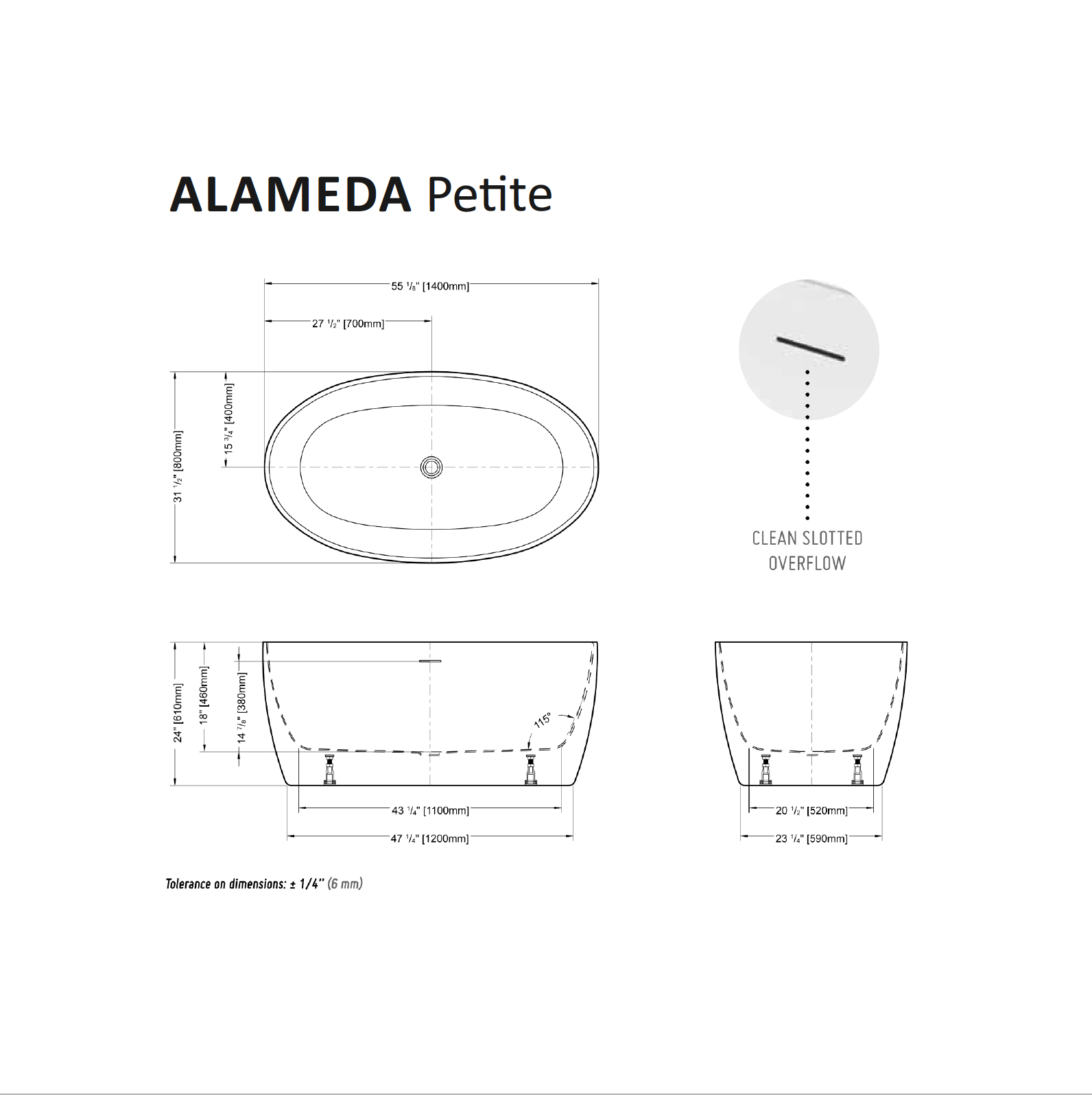 Alameda Petite Tub Specifications