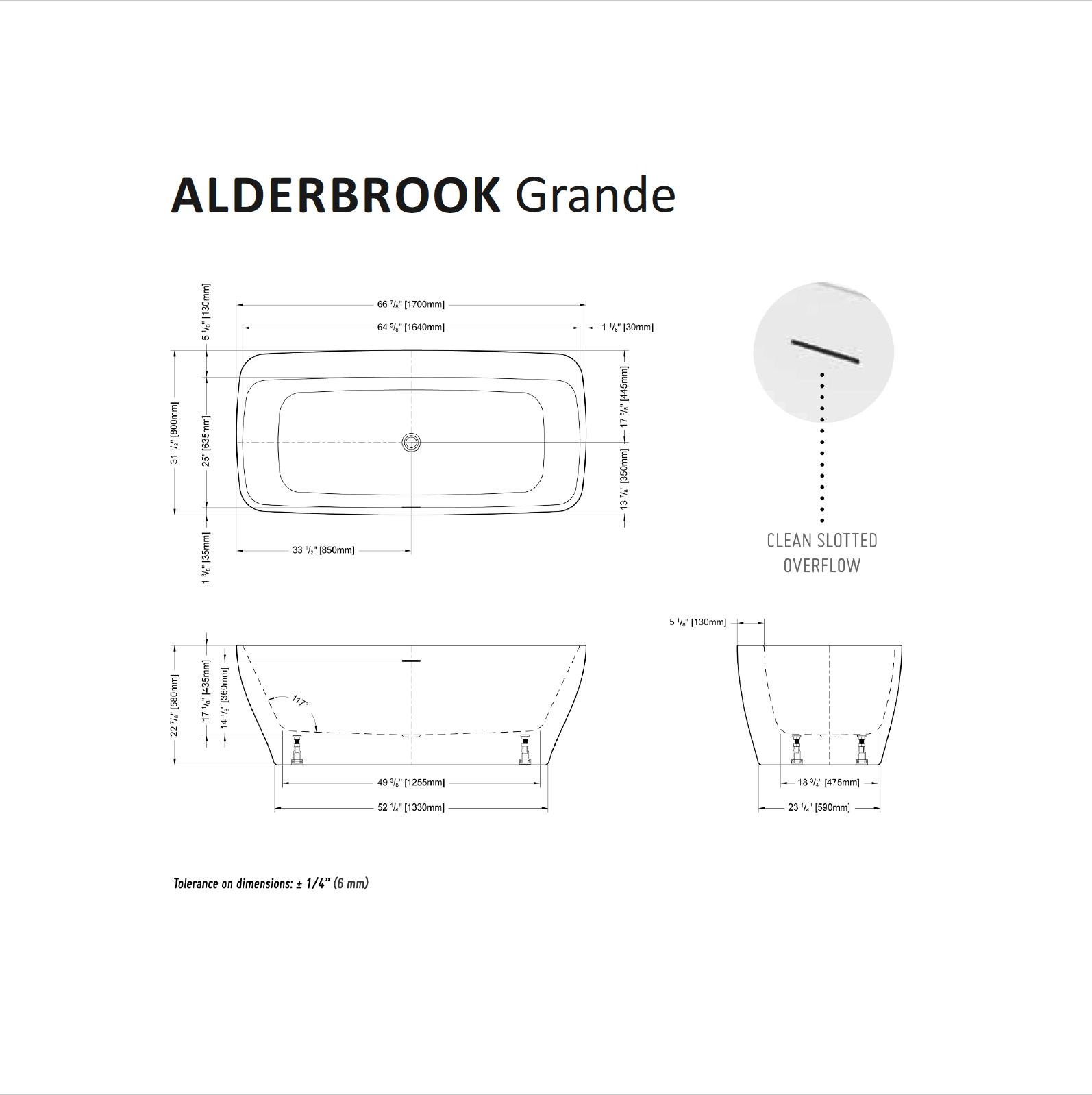 Alderbrook Grande Tub Specifications