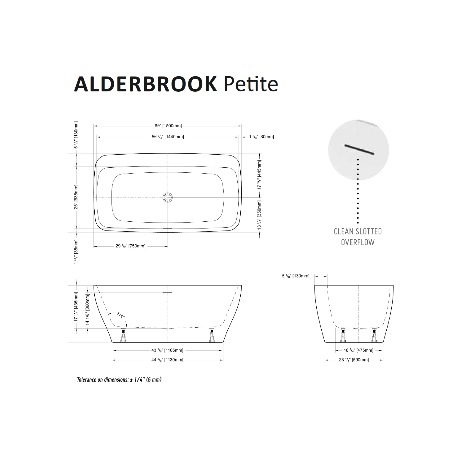Alderbrook Petite Tub Specifications