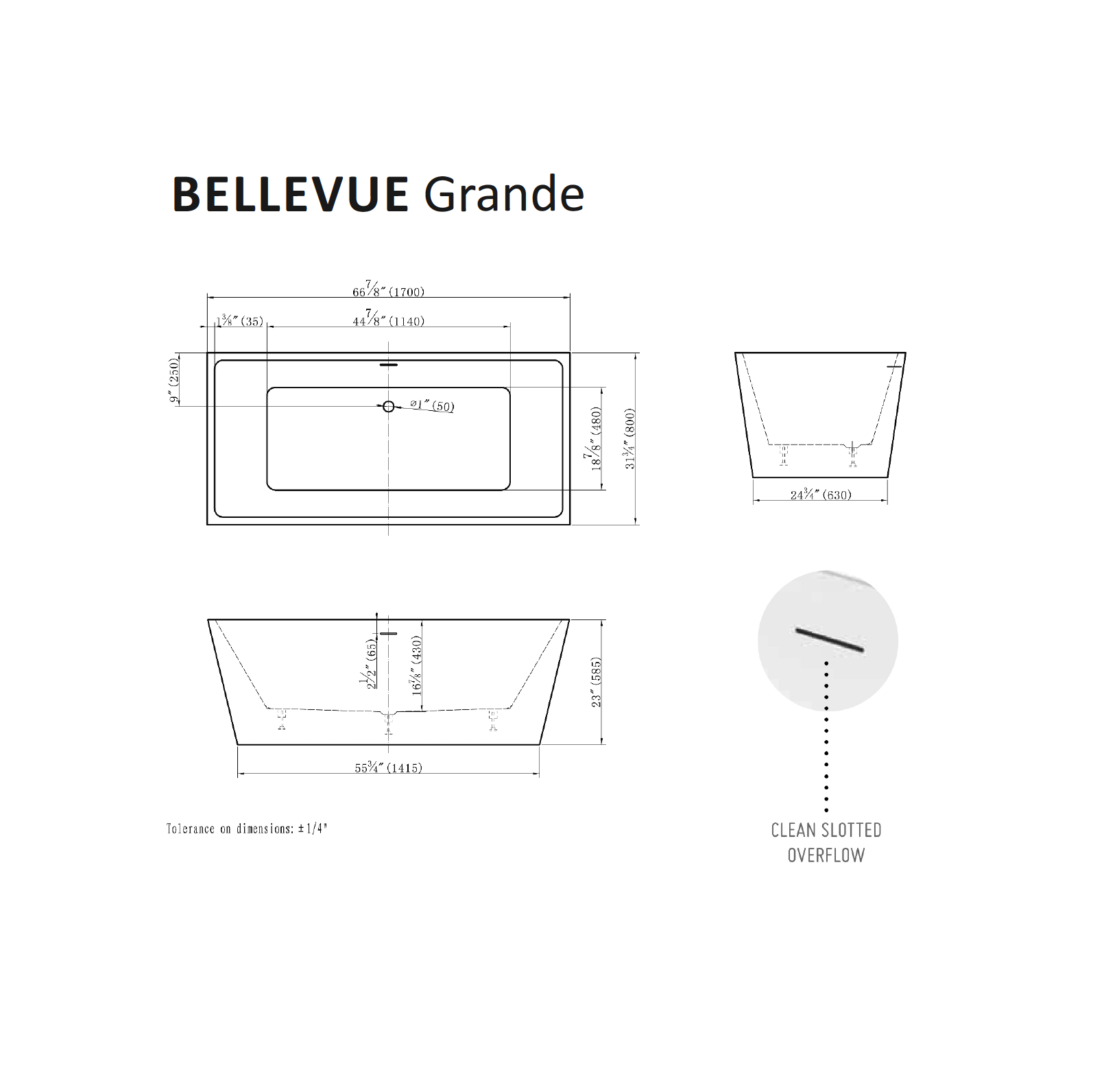 Bellevue Grande Tub Specifications