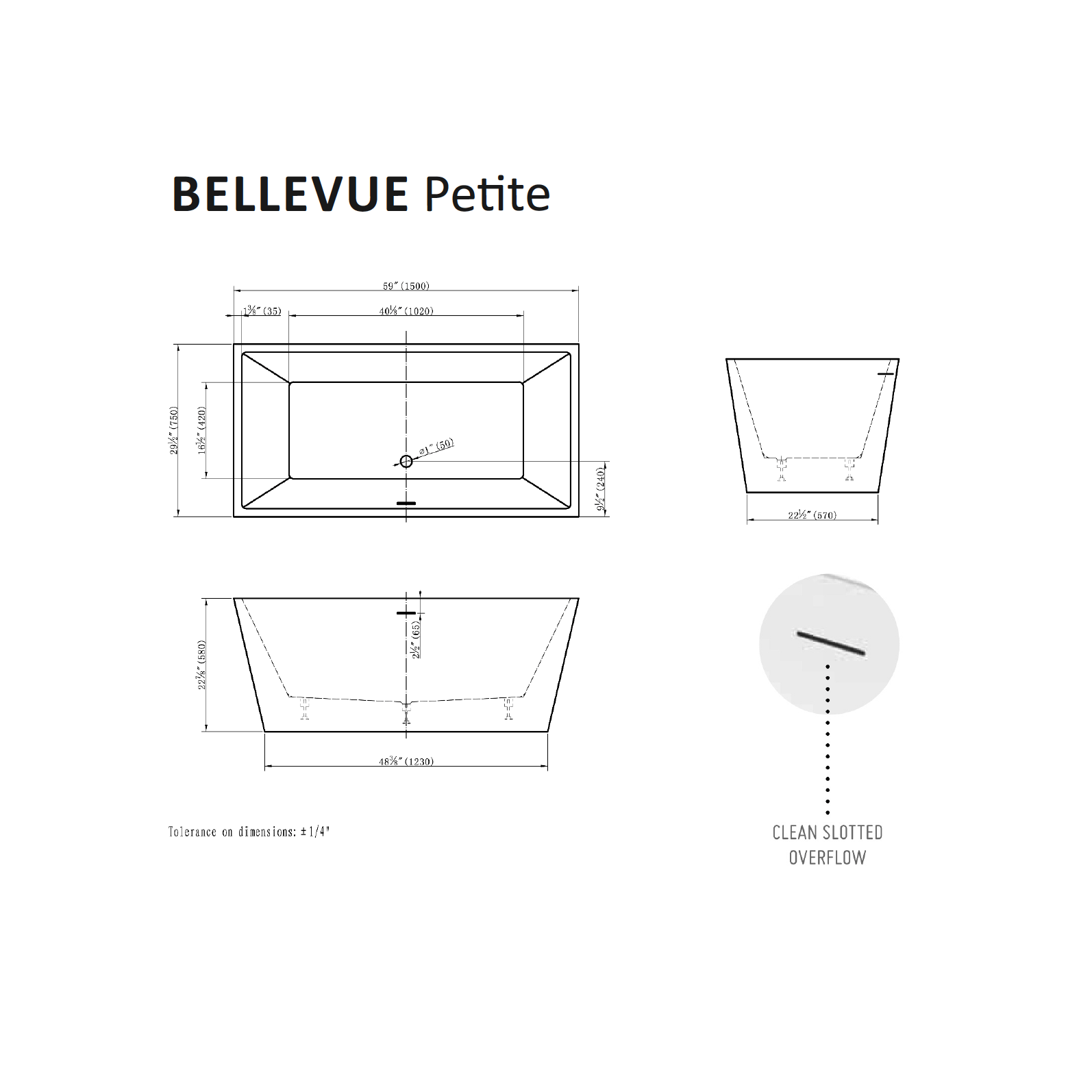 Bellevue Petite Tub Specifications