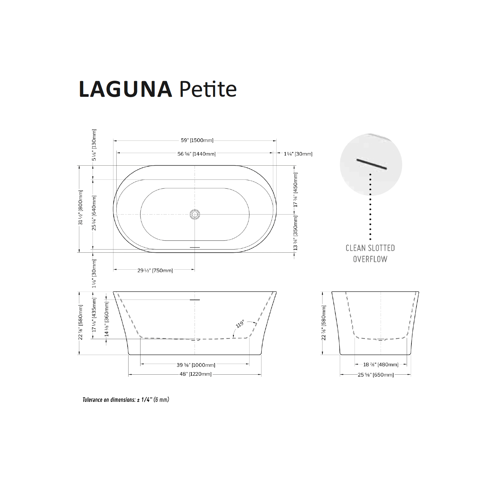 Laguna Petite Tub Specifications