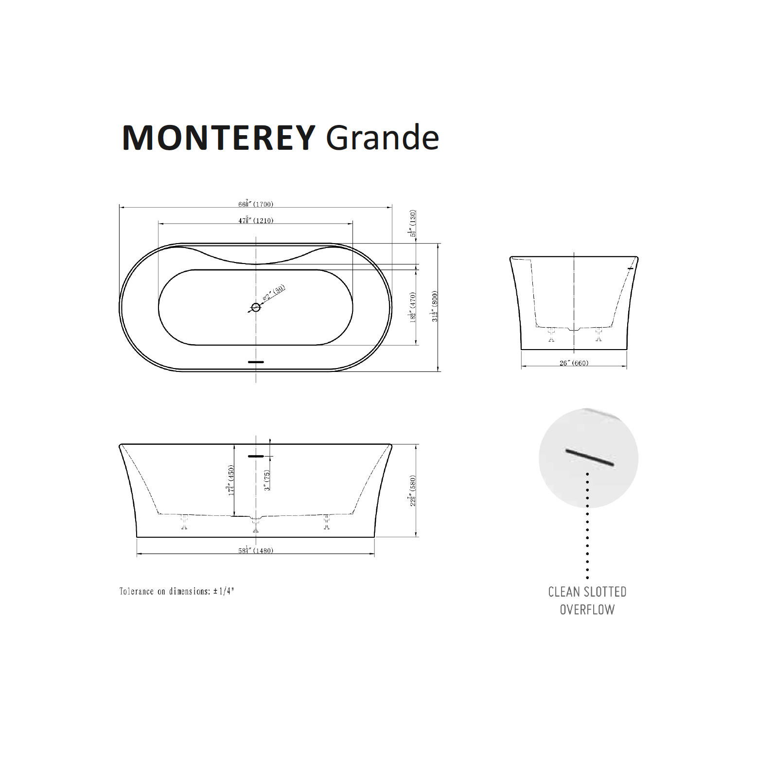 Monterey Grand Tub Specifications