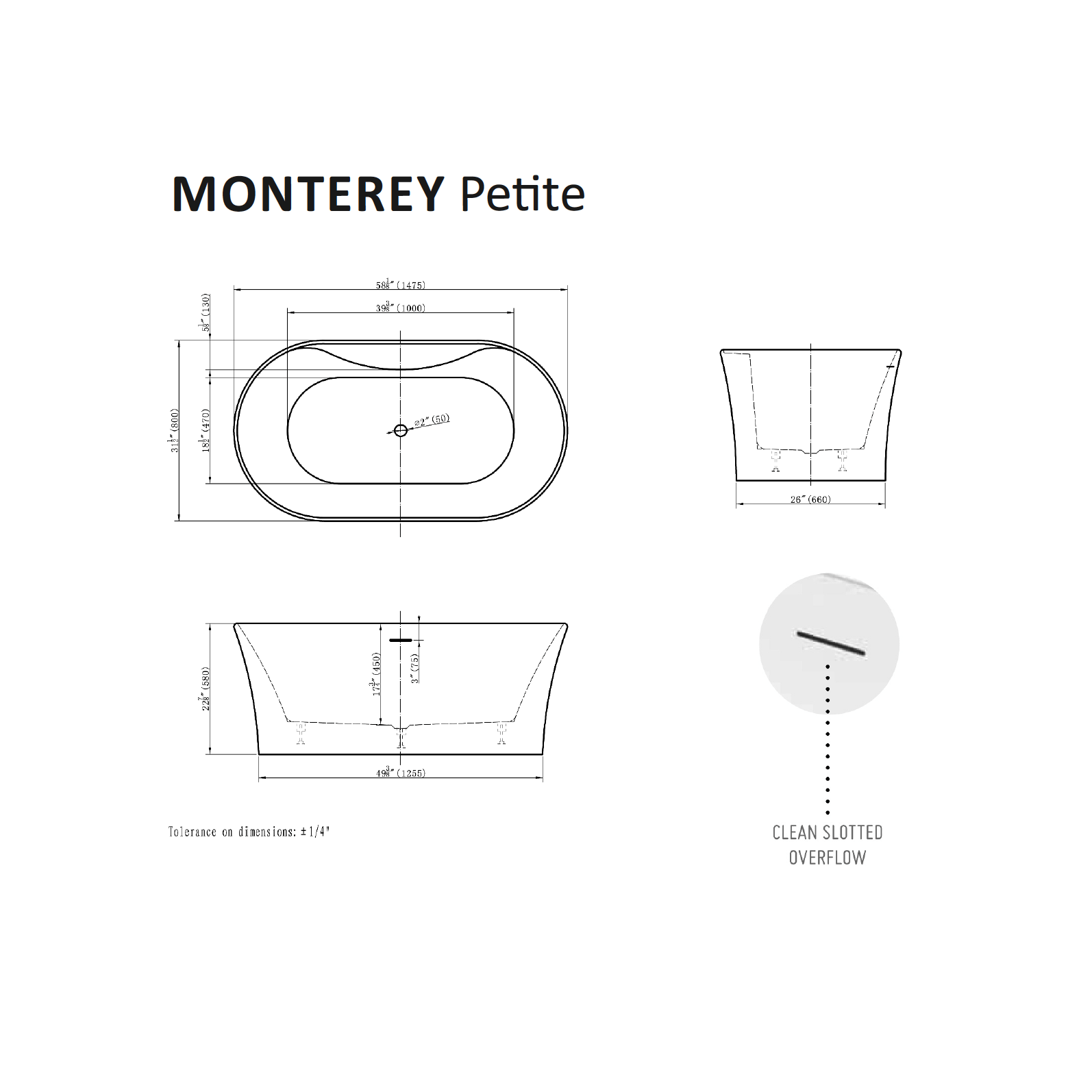 Monterey Petite Tub Specifications