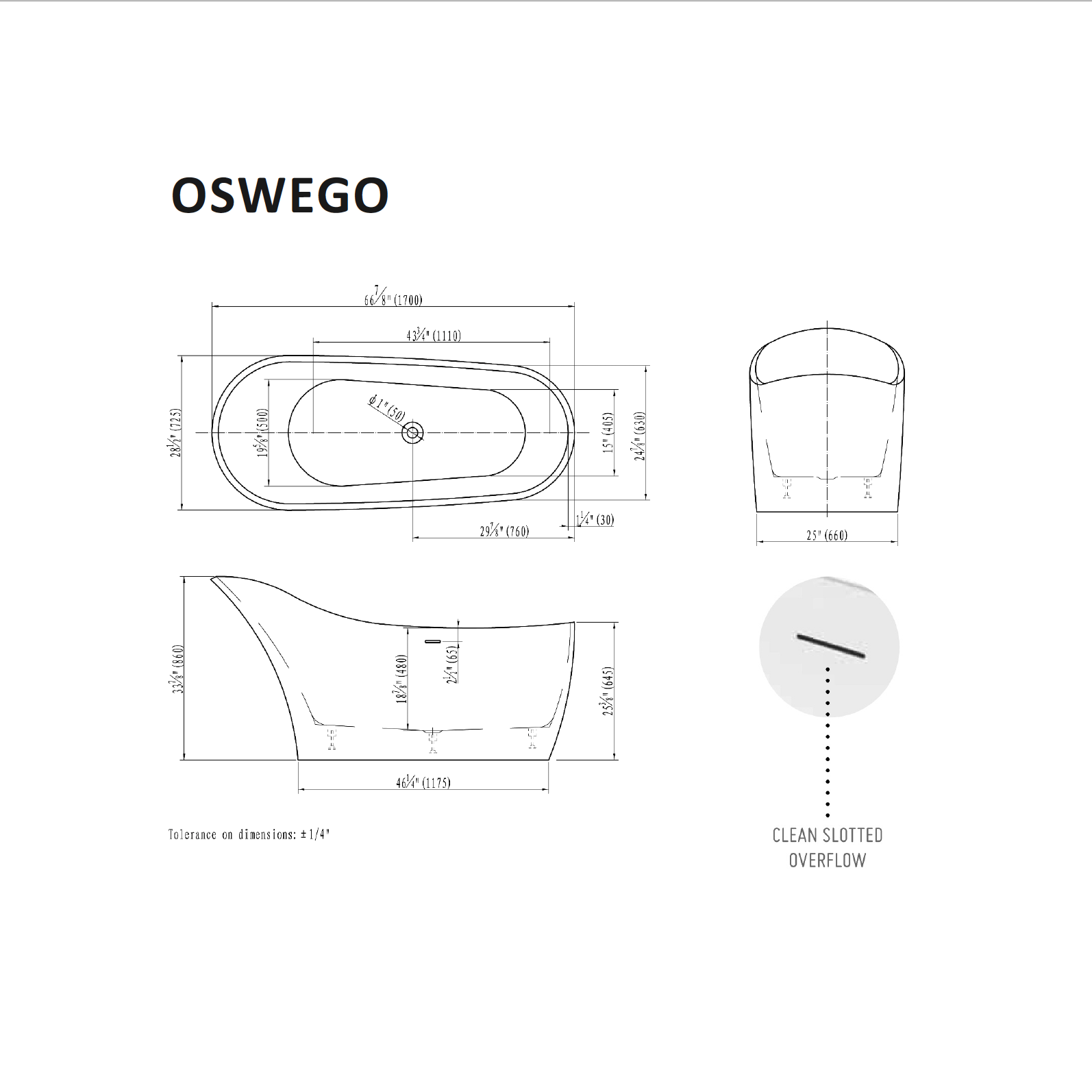 Oswego Tub Specifications