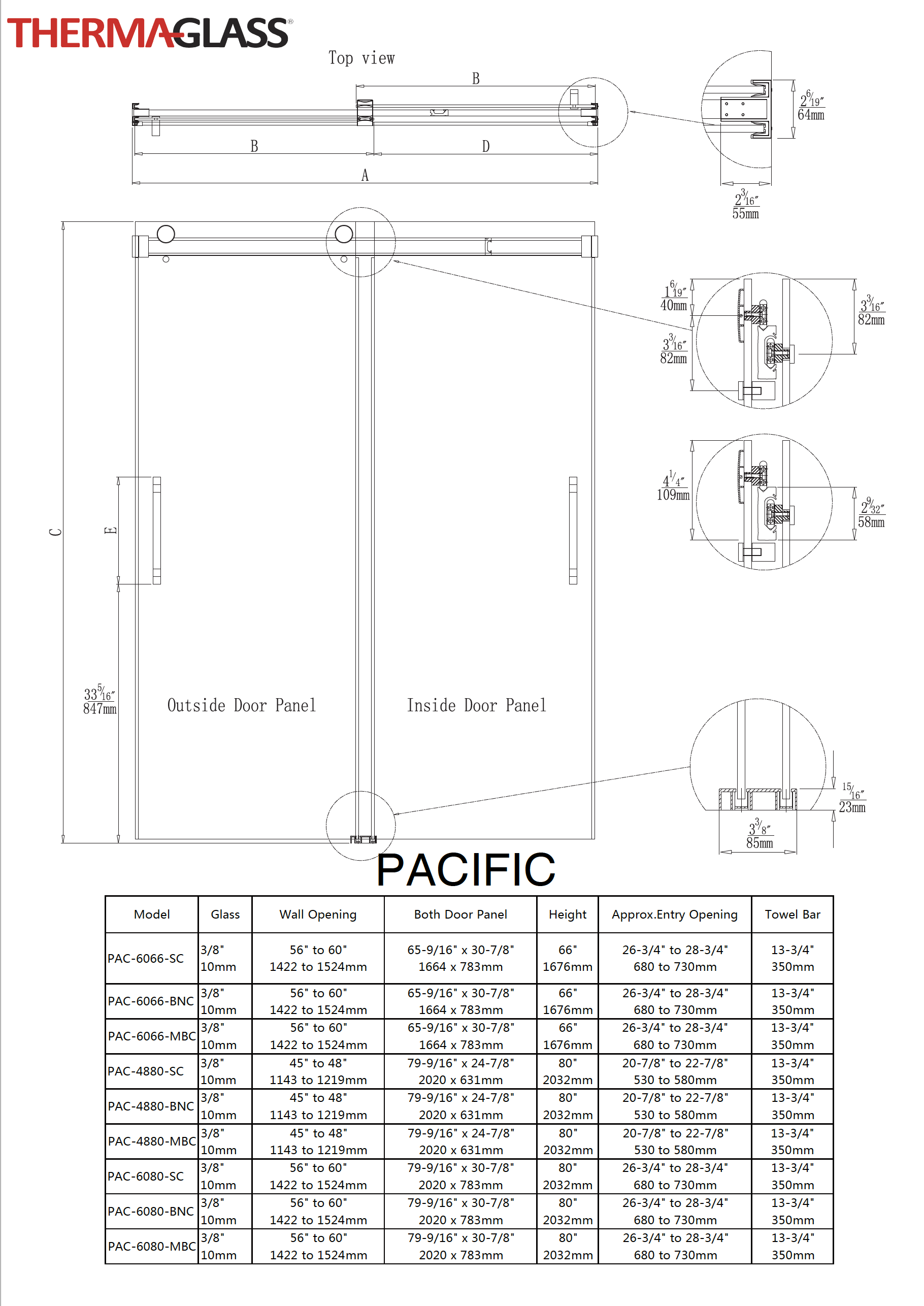 Pacific Shower Door Specification