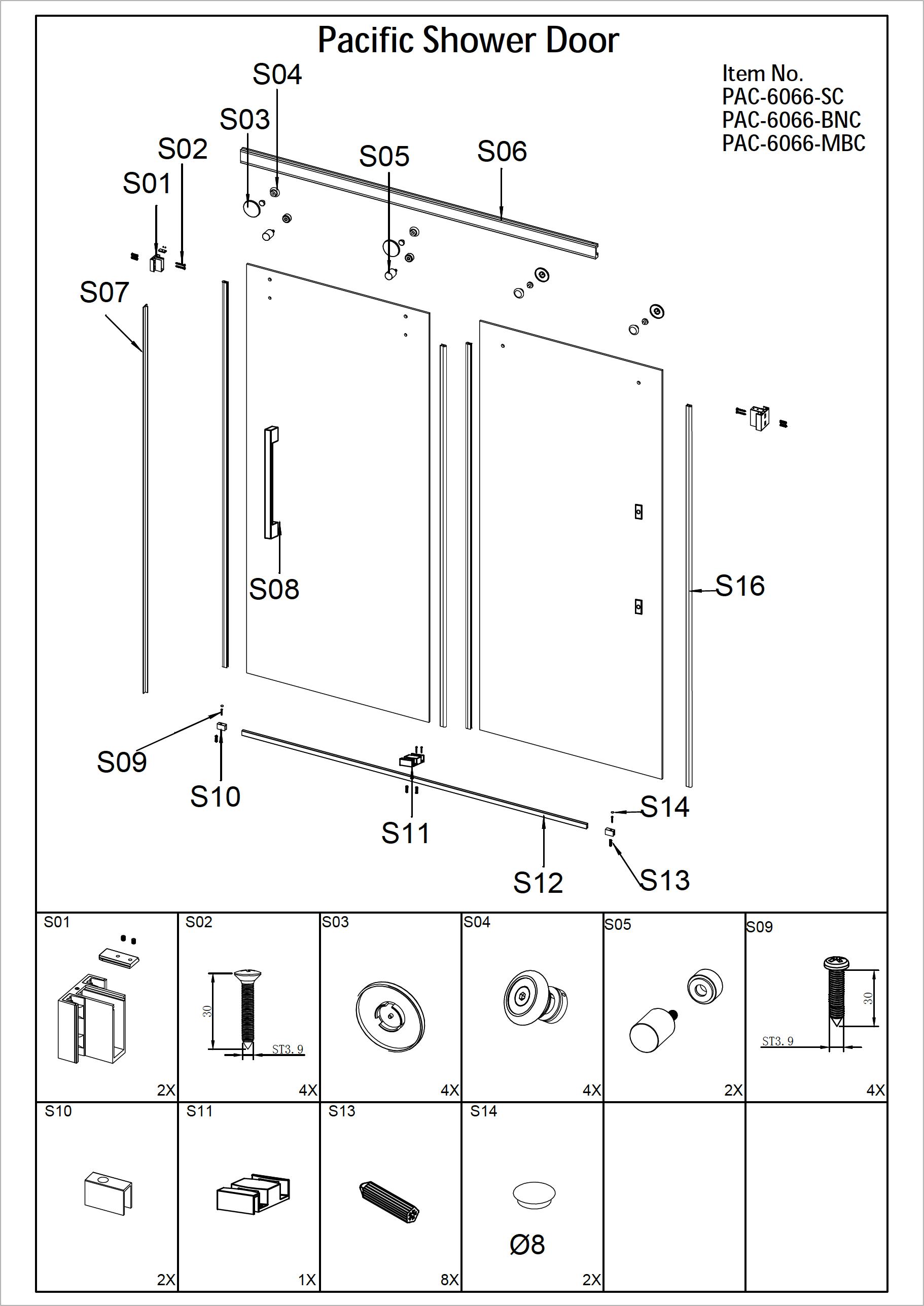 Pacific Tub Shower Door Installation
