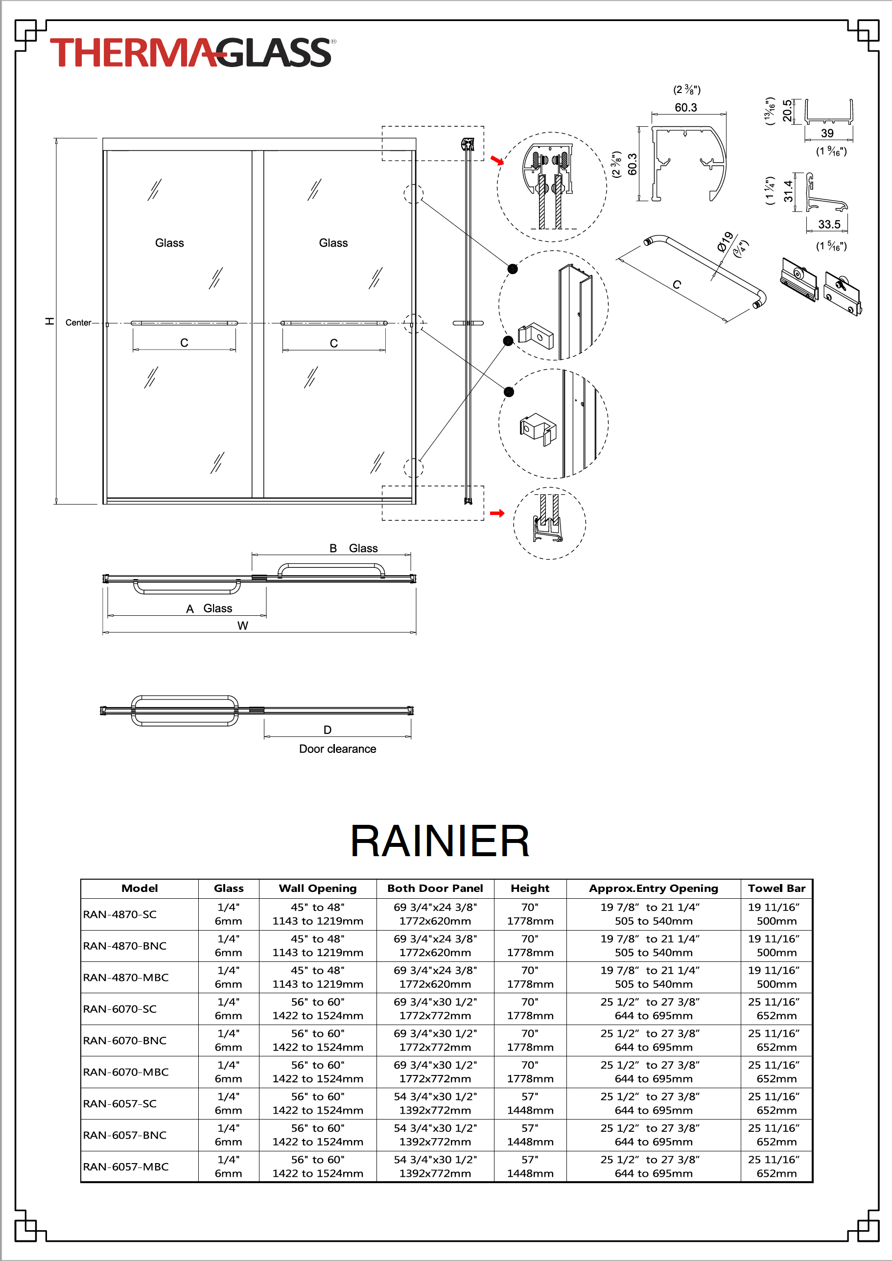 Rainier Shower Door Specification