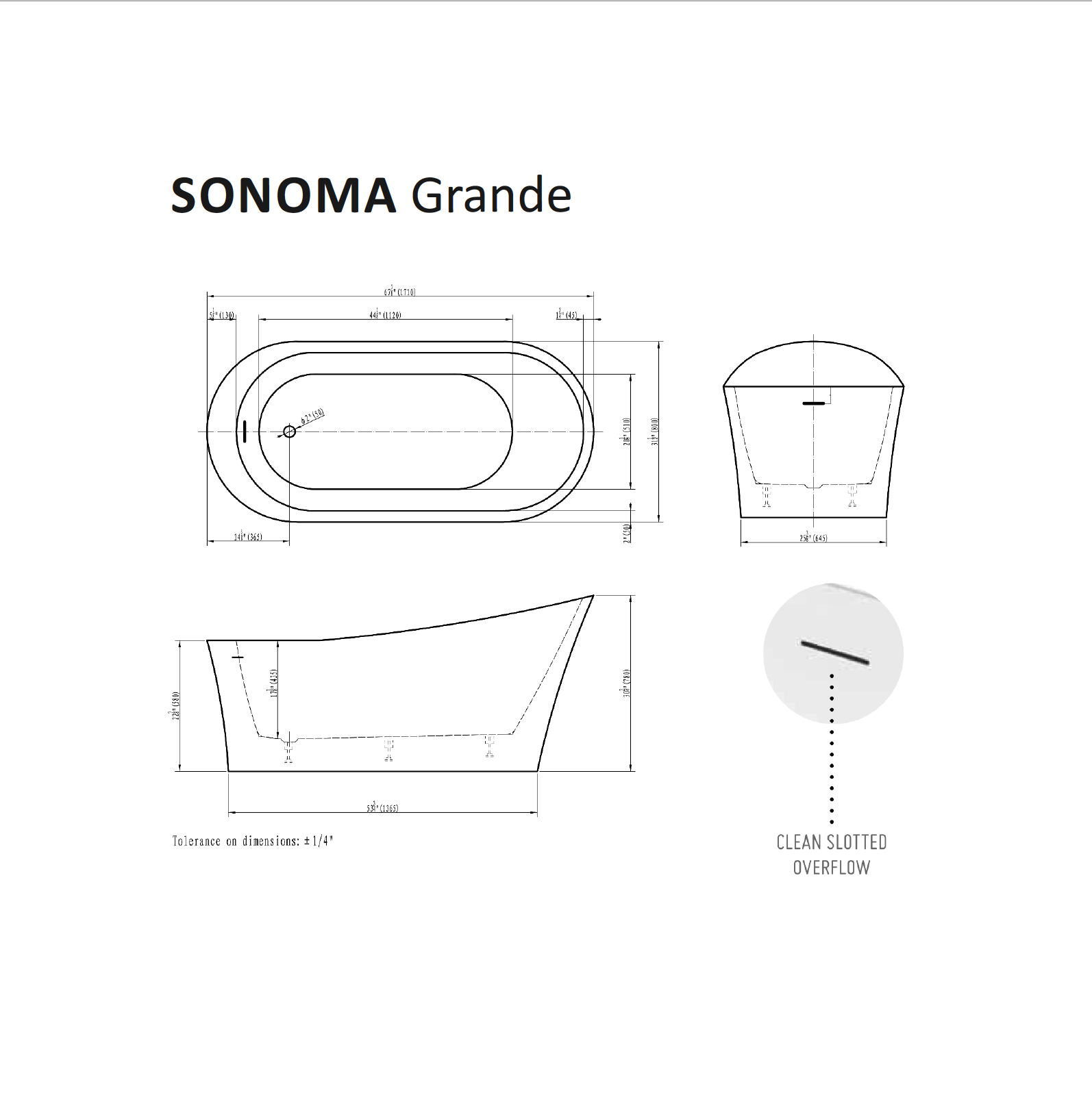Sonoma Grande Tub Specifications