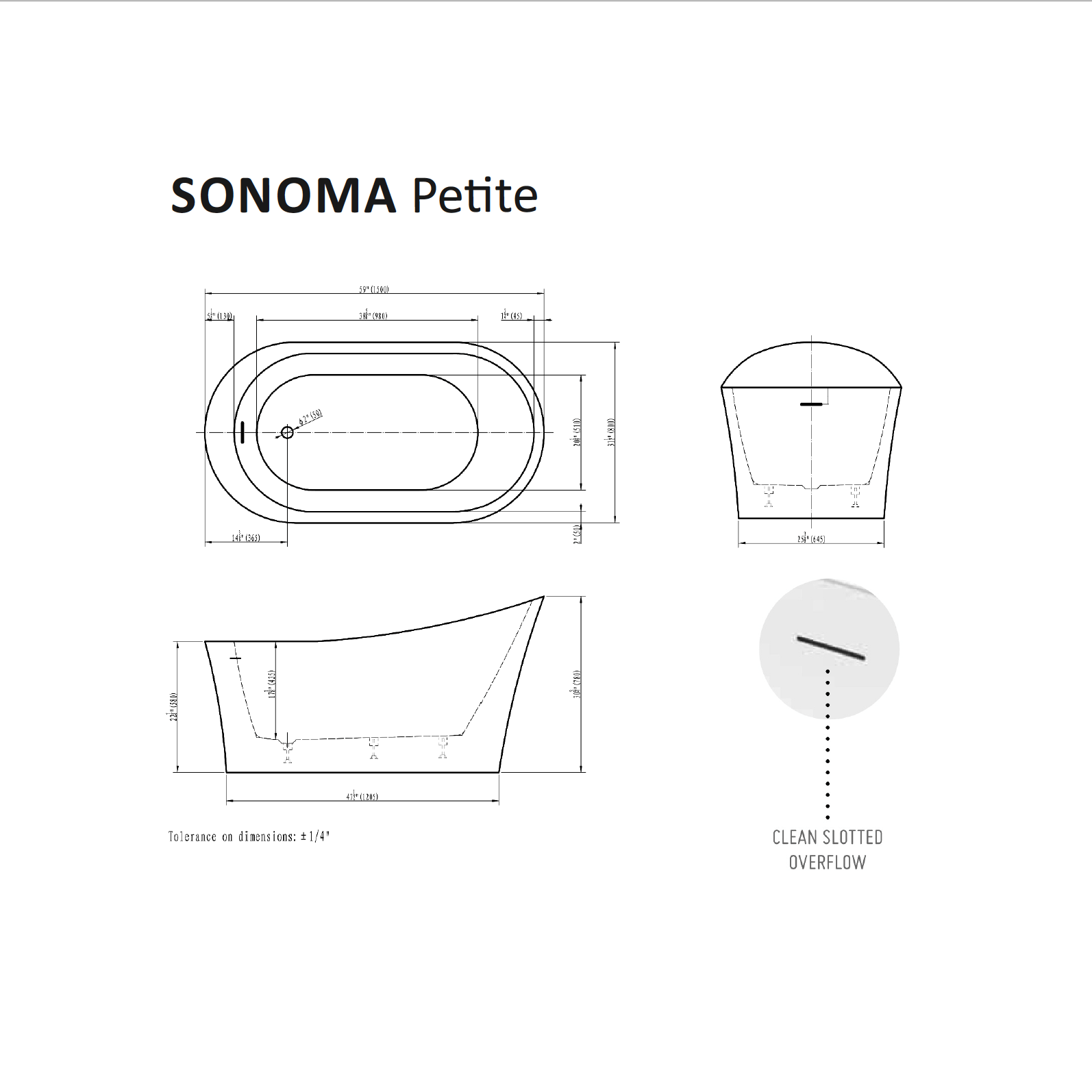 Sonoma Petite Tub Specifications