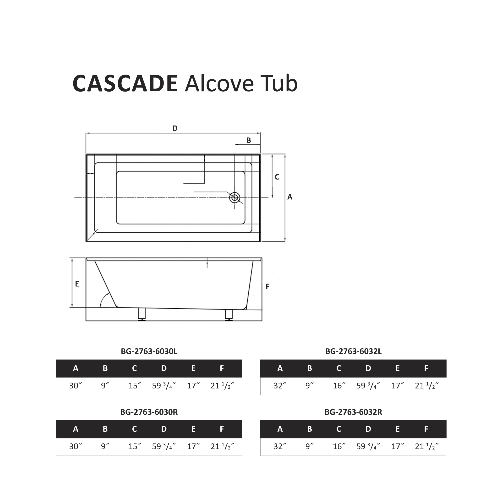 Cascade Alcove Tub Specification