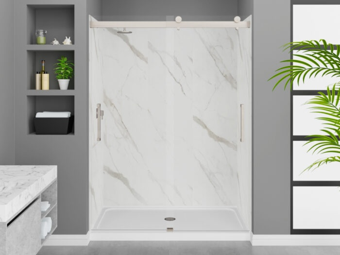 Modena Carrara White Wall Tile, Pacific Frameless Shower Door with Brushed Nickel Finish, K-Series Shower Base