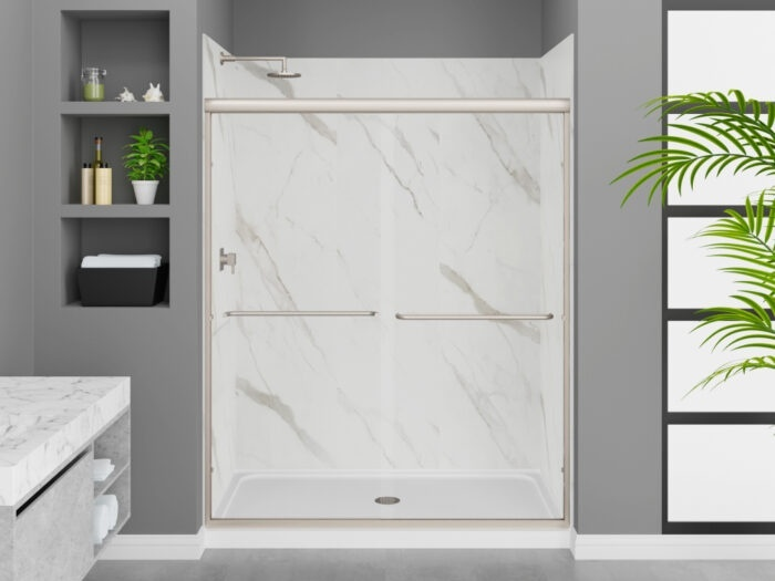 Modena Carrara White Wall Tile, Rainier Deluxe Shower Door with Brushed Nickel Finish, K-Series Shower Base