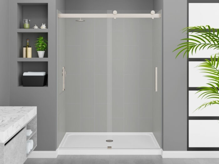 Modena Dove Grey Wall Tile, Pacific Frameless Shower Door with Brushed Nickel Finish, K-Series Shower Base
