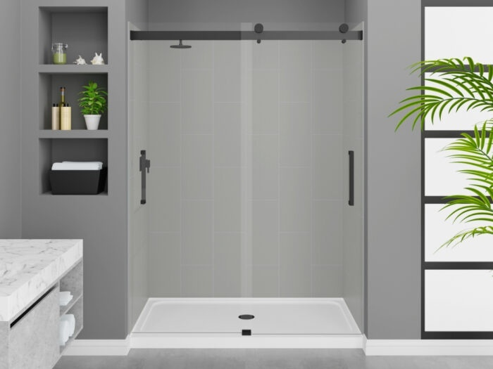 Modena Dove Grey Wall Tile, Pacific Frameless Shower Door with Matte Black Finish, K-Series Shower Base