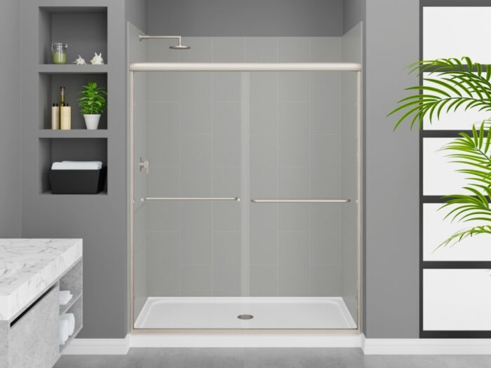 Modena Dove Grey Wall Tile, Rainier Deluxe Shower Door with Brushed Nickel Finish, K-Series Shower Base