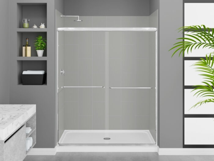 Modena Dove Grey Wall Tile, Rainier Deluxe Shower Door with Chrome Finish, K-Series Shower Base