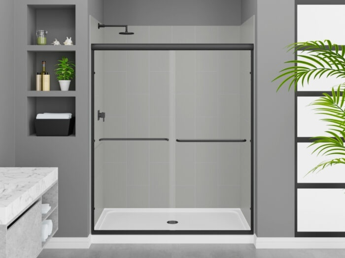 Modena Dove Grey Wall Tile, Rainier Deluxe Shower Door with Matte Black Finish, K-Series Shower Base