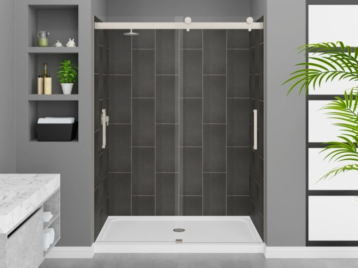 Modena Slate Grey Wall Tile, Pacific Frameless Shower Door with Brushed Nickel Finish, K-Series Shower Base