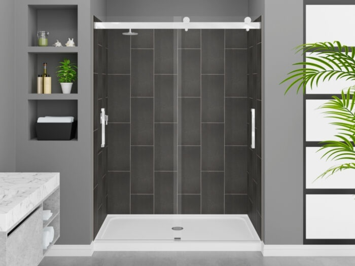 Modena Slate Grey Wall Tile, Pacific Frameless Shower Door with Chrome Finish, K-Series Shower Base
