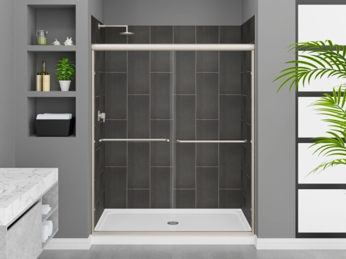 Modena Slate Grey Wall Tile, Rainier Deluxe Shower Door with Brushed Nickel Finish, K-Series Shower Base