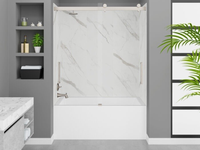 Cascade Tub, Carrara White Wall, Pacific Frameless Shower Door Brushed Nickel Finish