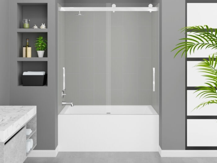 Cascade Tub, Dove Grey Wall, Pacific Frameless Shower Door Chrome Finish