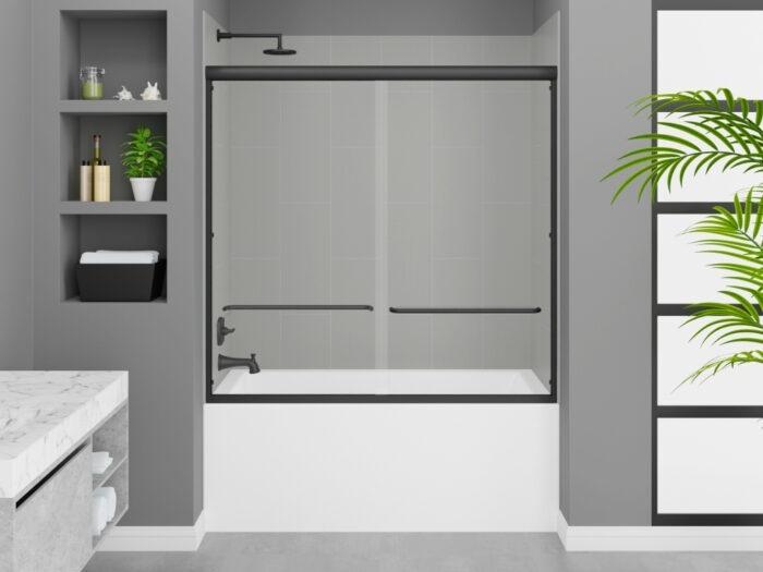 Cascade Tub, Modena Dove Grey Wall, Rainier Deluxe Shower Door Matte Black Finish