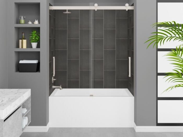 Cascade Tub, Slate Grey Wall, Pacific Frameless Shower Door Brushed Nickel Finish