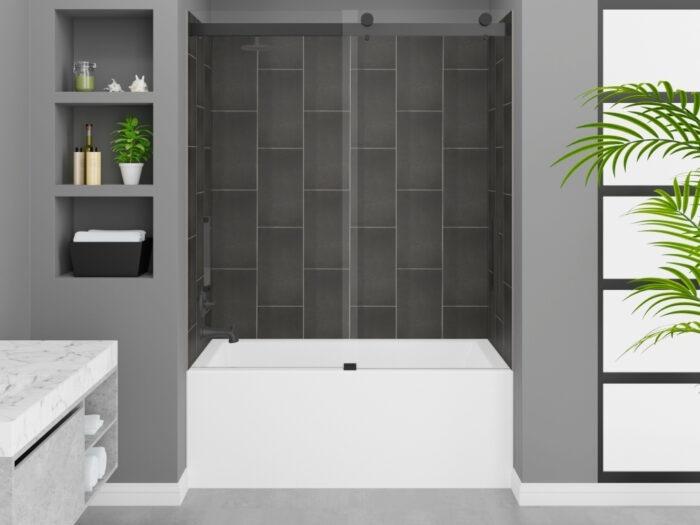 Cascade Tub, Slate Grey Wall, Pacific Frameless Shower Door Matte Black Finish