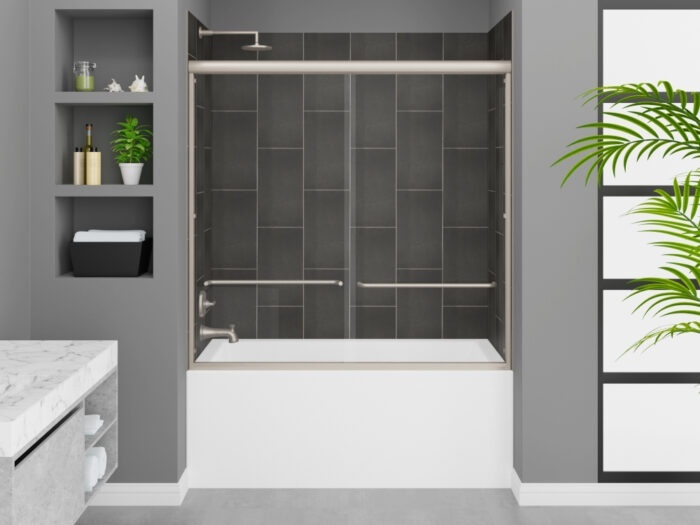 Cascade Tub, Modena Slate Grey Wall, Rainier Deluxe Shower Door Brushed Nickel Finish