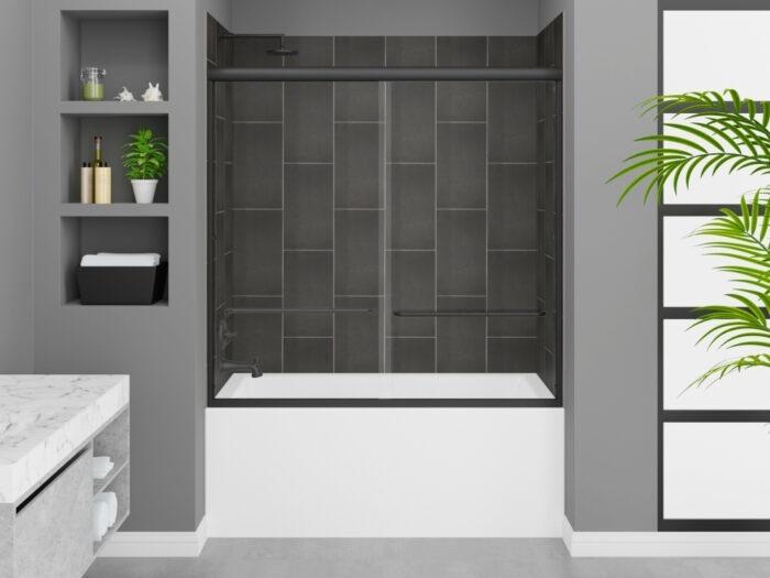 Cascade Tub, Modena Slate Grey Wall, Rainier Deluxe Shower Door Matte Black Finish