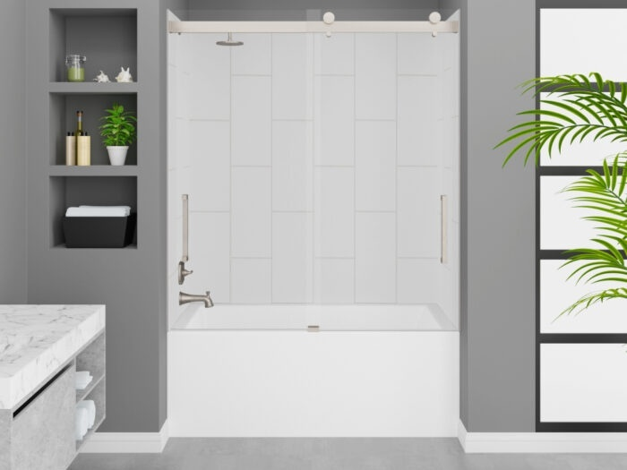 Cascade Tub, Winter White Wall, Pacific Frameless Shower Door Brushed Nickel Finish