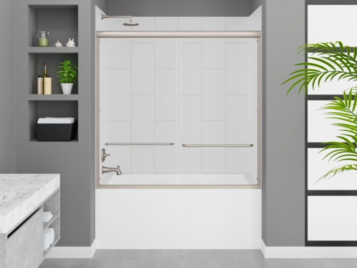 Cascade Tub, Modena Winter White Wall, Rainier Deluxe Shower Door Brushed Nickel Finish