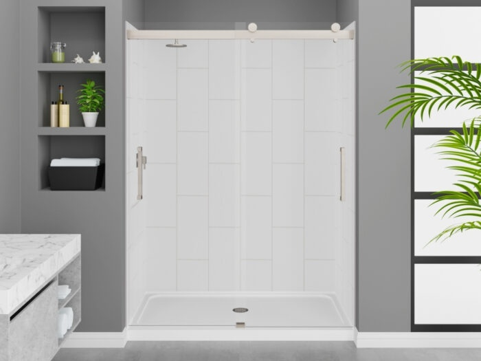 Modena Winter White Wall Tile, Pacific Frameless Shower Door with Brushed Nickel Finish, K-Series Shower Base