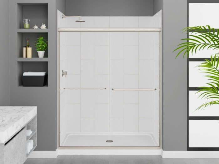 Modena Winter White Wall Tile, Rainier Deluxe Shower Door with Brushed Nickel Finish, K-Series Shower Base