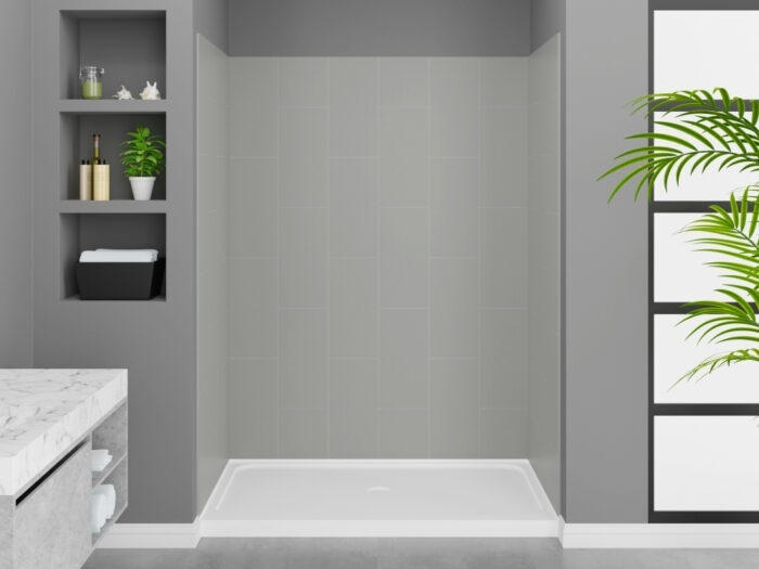 Modena Dove Grey Wall Tile With K-Series Shower Base